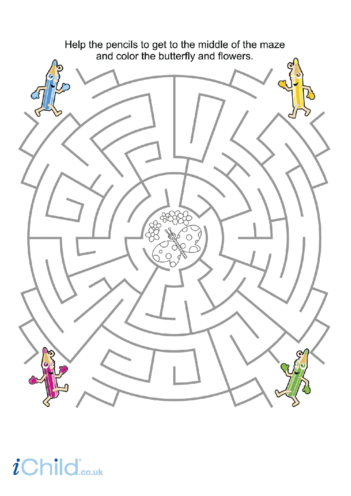 Thumbnail image for the Butterfly Pencil Maze activity.