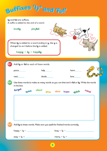 Thumbnail image for the Collins Easy Learning KS2 English, Spelling ending 'ly' and 'ful' activity.