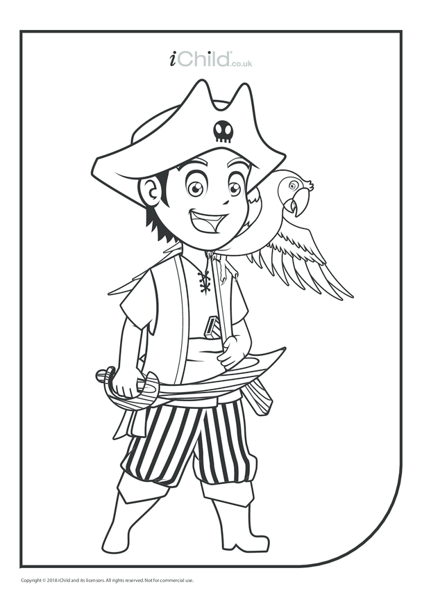 Young Pirate & Parrot Colouring in Picture
