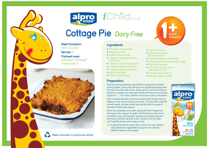 Thumbnail image for the Cottage Pie Dairy Free Recipe activity.