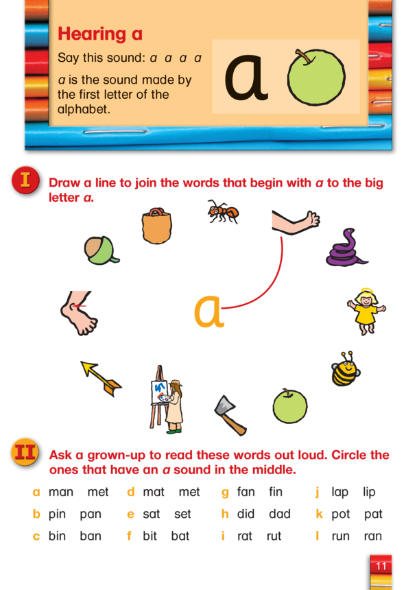 Letts Preschool English, Learning About Letter A