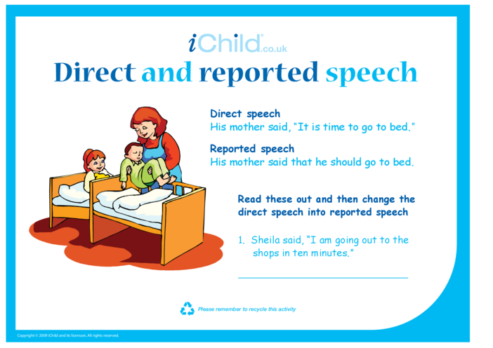 Thumbnail image for the Direct and Reported Speech activity.