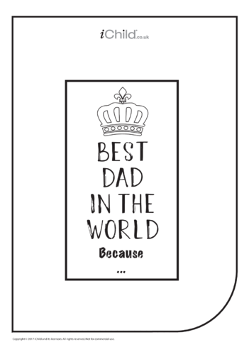 Thumbnail image for the Best Dad in the World Because ... activity.