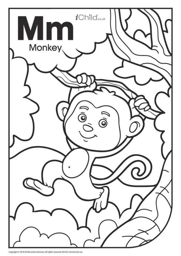 M is for Monkey Colouring in Picture