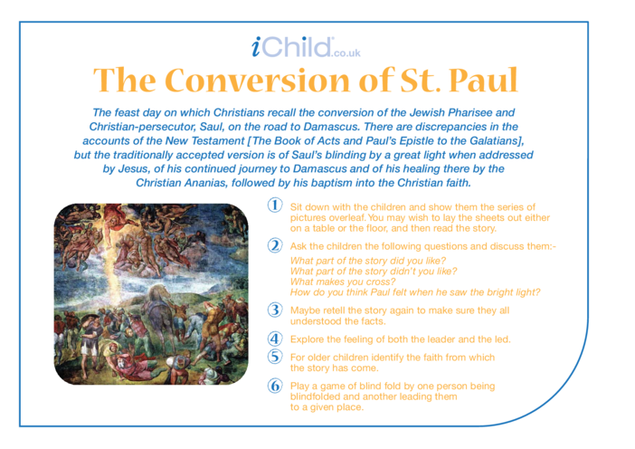 Thumbnail image for the The Conversion of St. Paul Religious Festival Story activity.
