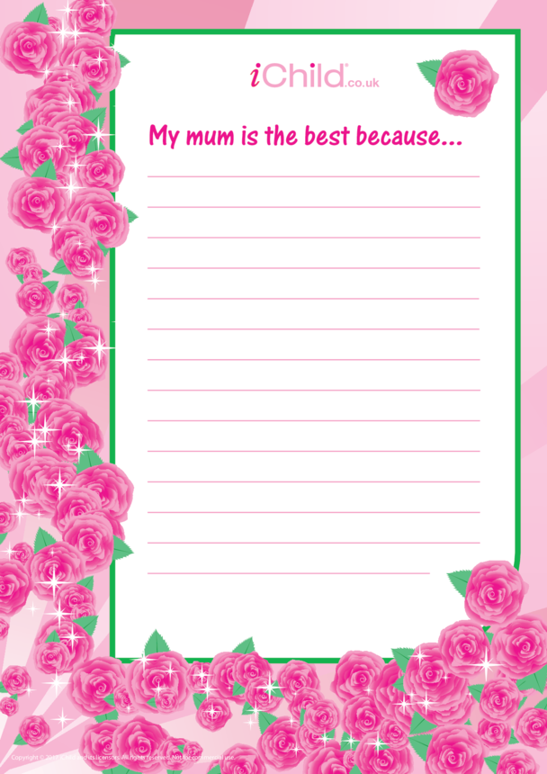 My Mum is the best because... Lined Writing Paper Template
