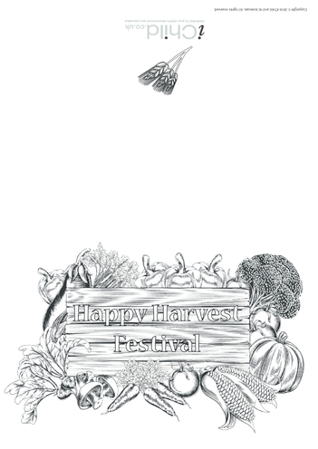 Thumbnail image for the Harvest Festival Card (Black & White) activity.