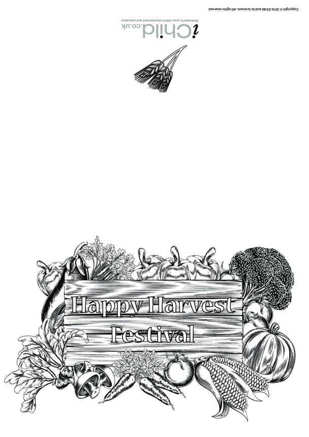 Harvest Festival Card (Black & White)