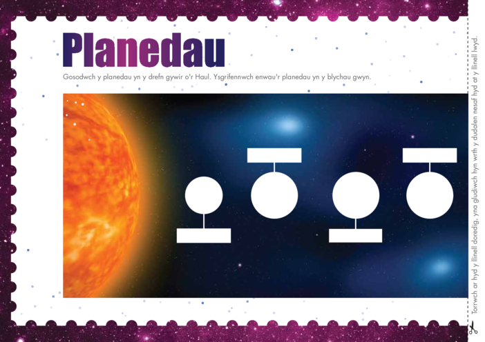 Thumbnail image for the Welsh Language, Primary 4) Out Into Space Planetline A4 activity.