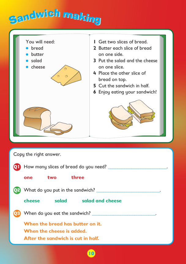 Collins Easy Learning KS1 English Comprehension, Sandwich making