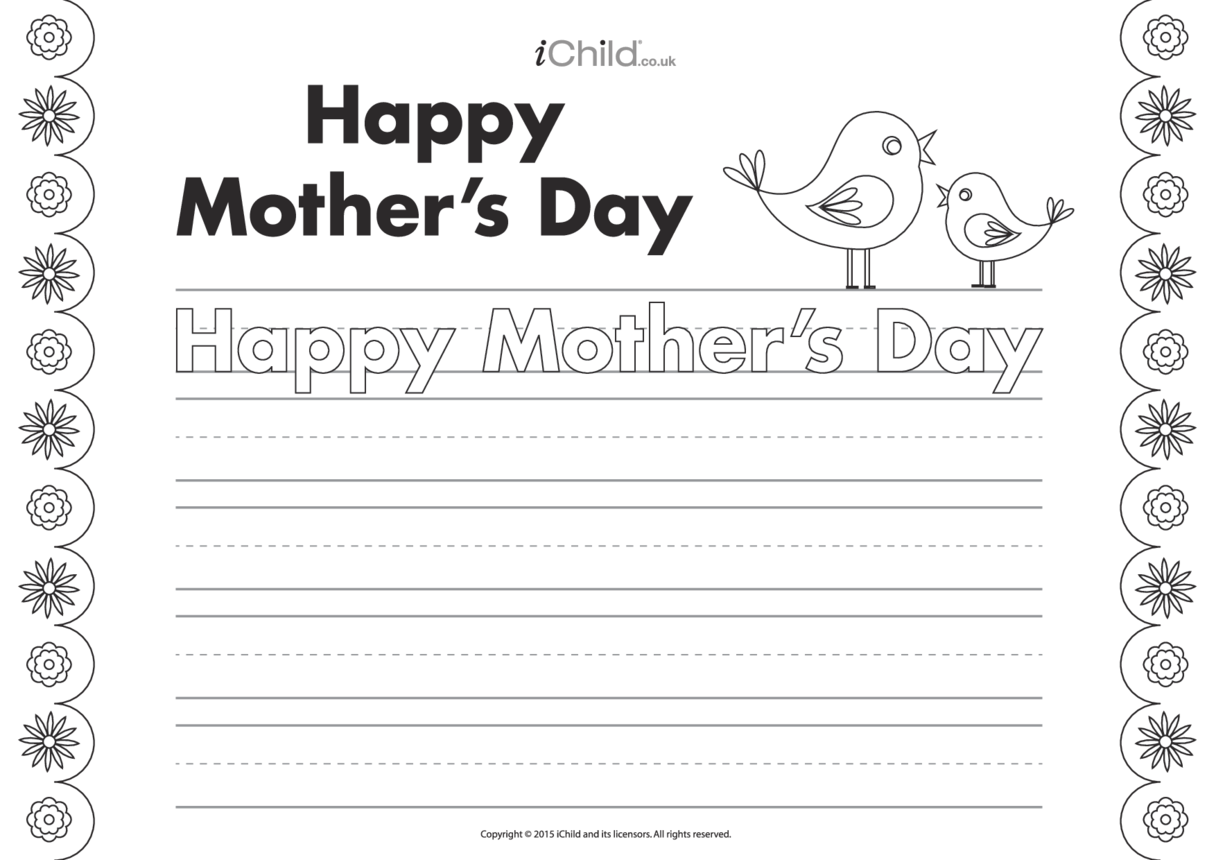Happy Mother's Day Handwriting Practice Sheet