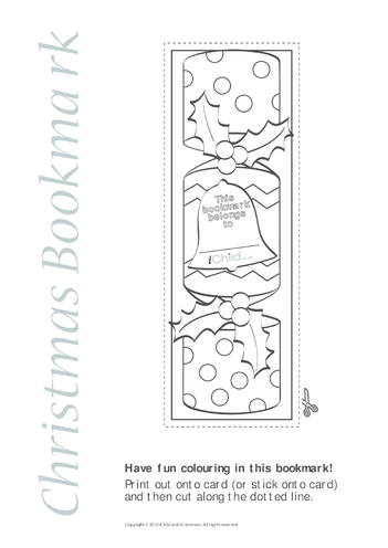 Thumbnail image for the Christmas Bookmark activity.