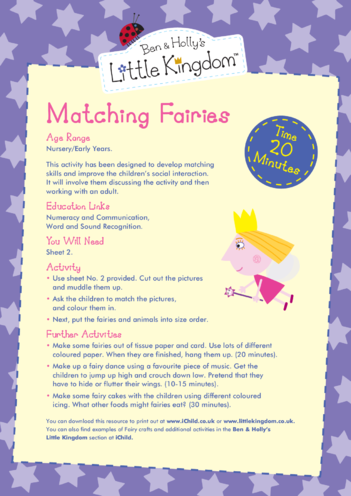 Thumbnail image for the EYFS Resource Sheet 2: Matching Fairies activity.