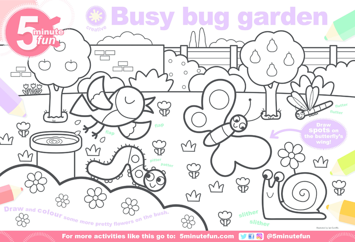 Thumbnail image for the Busy Bug Garden Colouring in Picture activity.