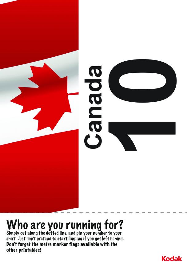 Kodak Running Bib; Canada