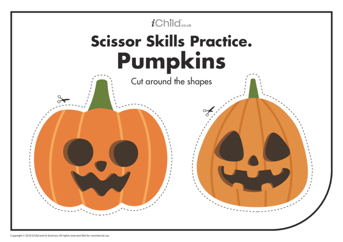Thumbnail image for the Scissor Skills Practice: Pumpkins activity.