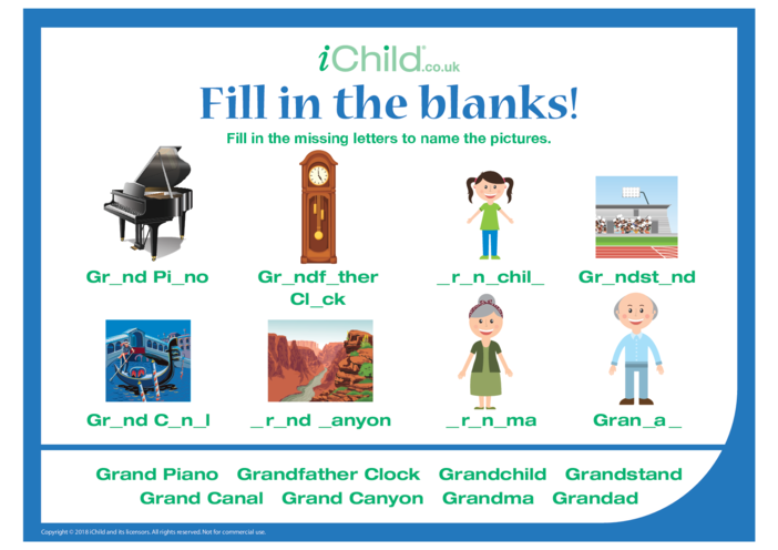Thumbnail image for the Fill in the Blanks Grandparents' Day activity.
