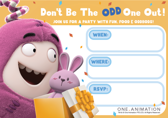 Thumbnail image for the Party Invites Newt Oddbods activity.