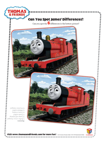 Thumbnail image for the James Spot the Difference (Thomas & Friends) activity.
