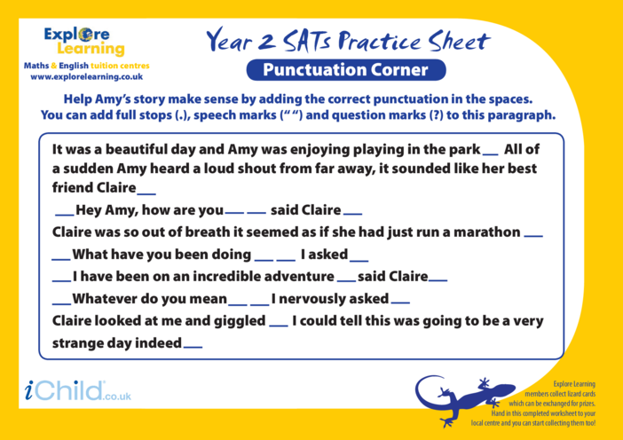 Thumbnail image for the SATS Practice Paper Year 2: Punctuation Corner activity.