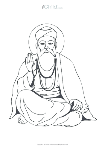 Thumbnail image for the Guru Nanak Colouring in Picture activity.