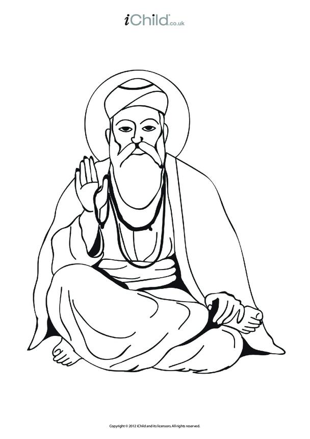 Guru Nanak Colouring in Picture