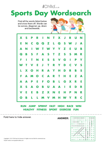 Thumbnail image for the Sports Day Wordsearch activity.