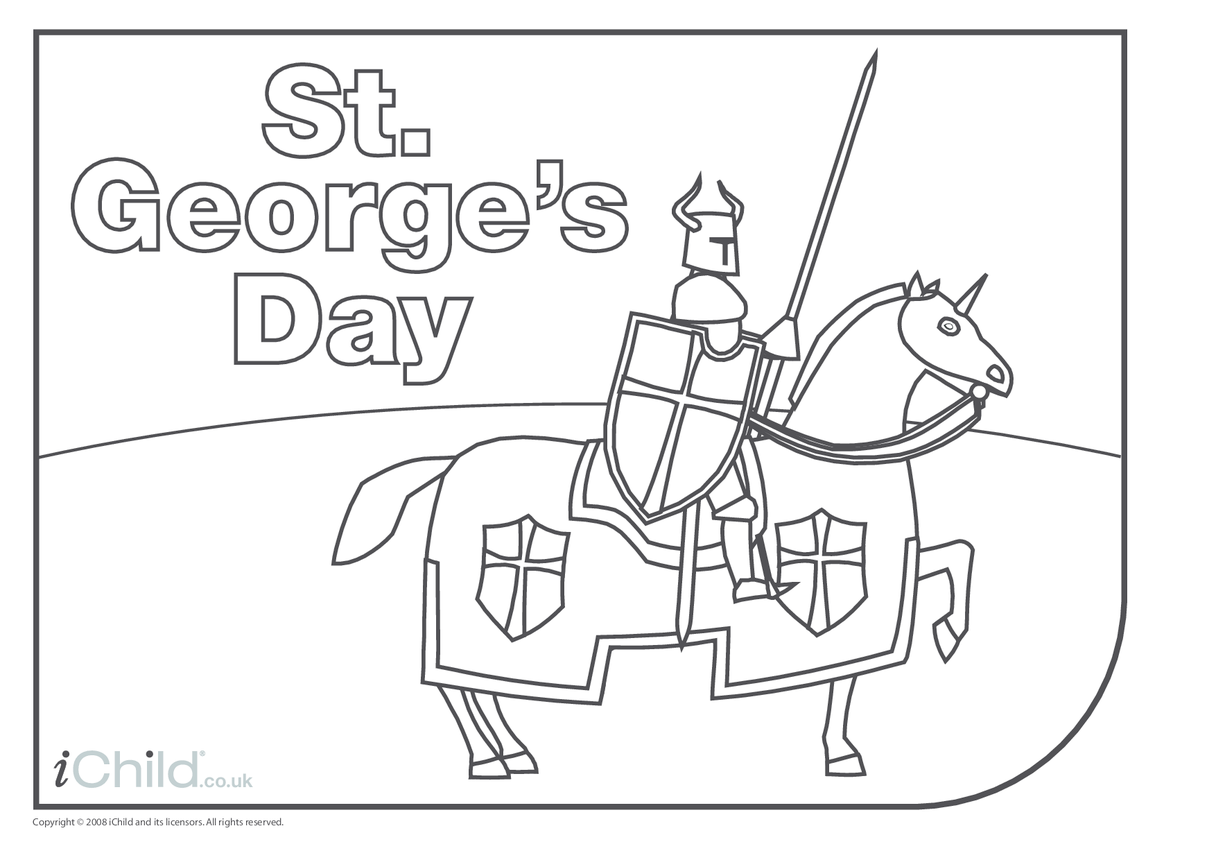 St. George's Day Colouring in Picture - Knight