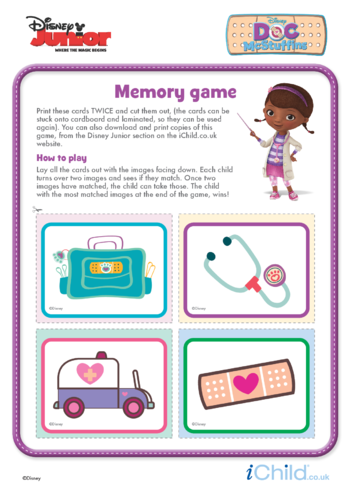 Thumbnail image for the Doc McStuffins: Memory Game- Disney Junior activity.