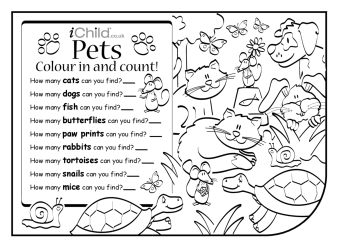 Thumbnail image for the Colour in & Count - Pets 2 activity.