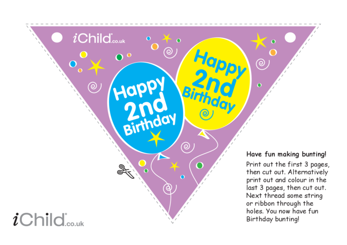 Thumbnail image for the Birthday Party Bunting for 2 year old 2nd birthday activity.