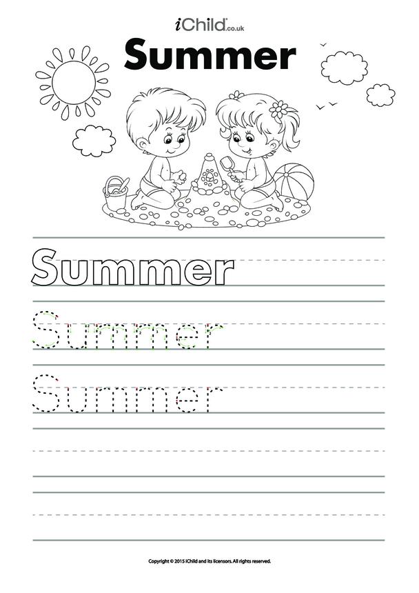 Summer Handwriting Practice Sheet