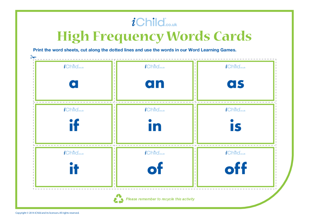 High Frequency Words Cards