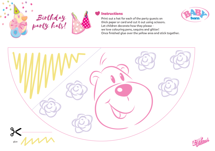 Thumbnail image for the 2021 BABY born Birthday Party Hat - Bear activity.