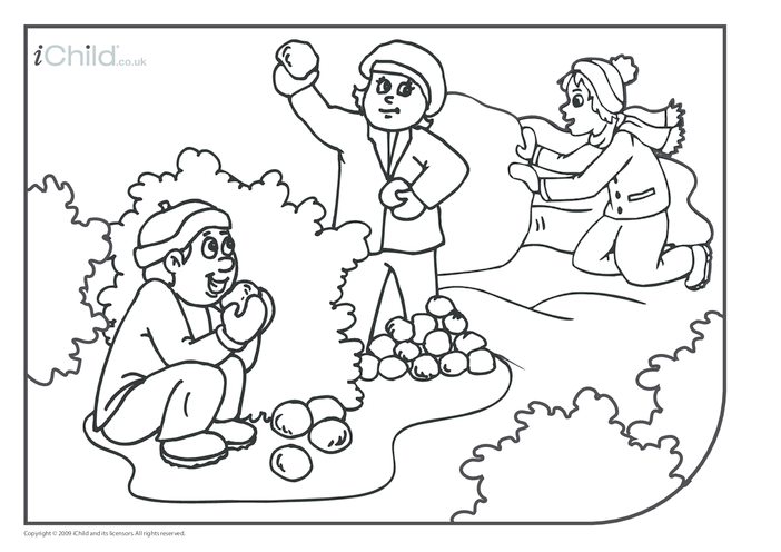 Thumbnail image for the Playing in the Snow Colouring in picture activity.