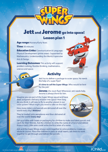 Thumbnail image for the Super Wings: Lesson Plan 1, Jett and Jerome go into Space! activity.