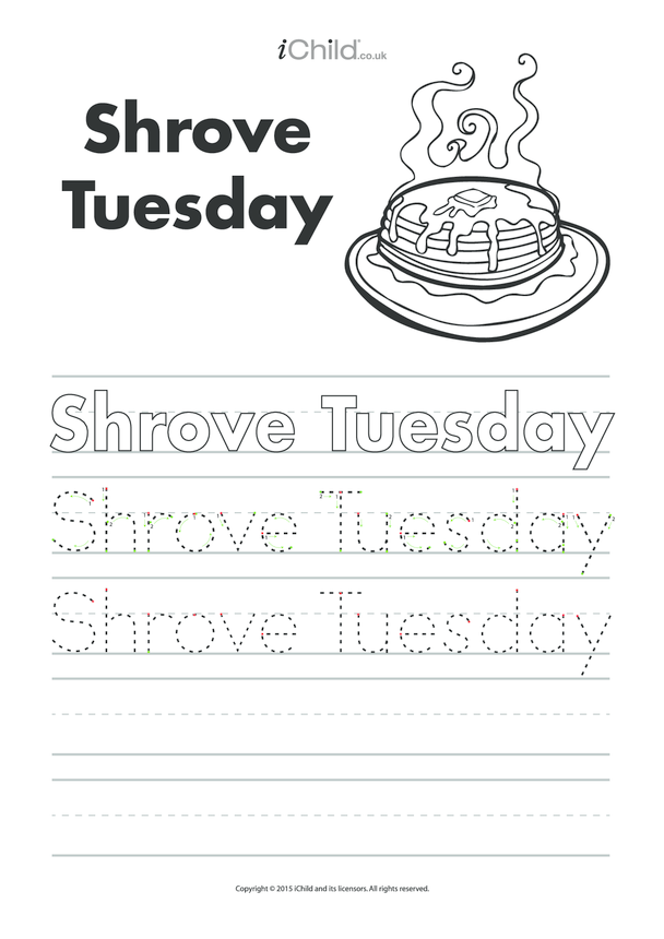 Shrove Tuesday Handwriting Practice Sheet