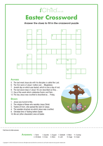 Thumbnail image for the Easter Crossword activity.