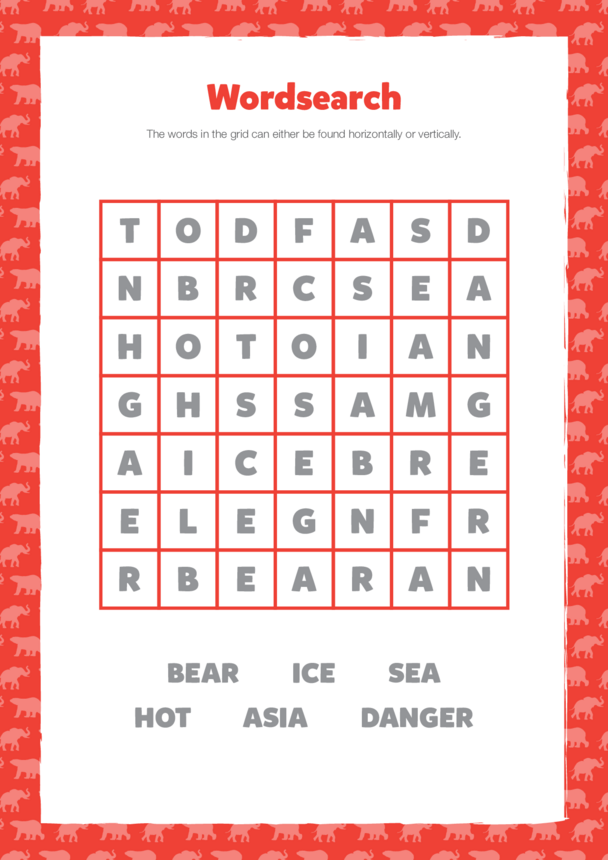 Primary 2) At Risk- Wordsearch