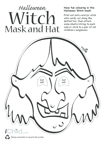 Thumbnail image for the Halloween Witch Mask and Hat activity.