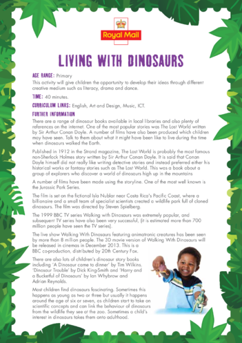 Thumbnail image for the Primary 4) Living with Dinosaurs Lesson Plan activity.