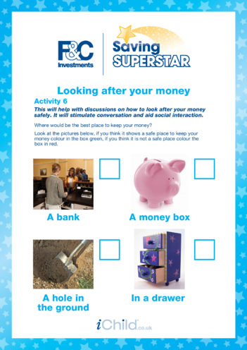 Thumbnail image for the Under 5 years (6) Looking after your money activity.