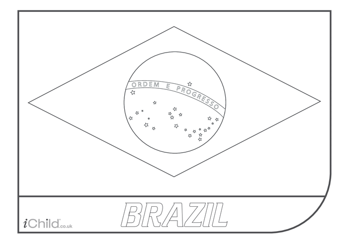 Thumbnail image for the Brazil Flag Colouring in picture activity.