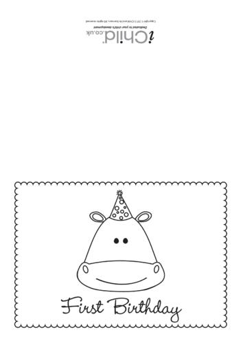 Thumbnail image for the First Birthday Card Black and White- Hippo activity.