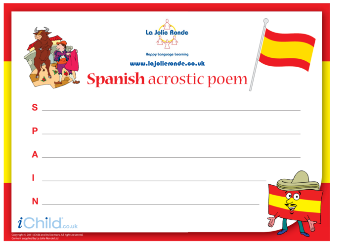 Thumbnail image for the Acrostic Poem in Spanish activity.