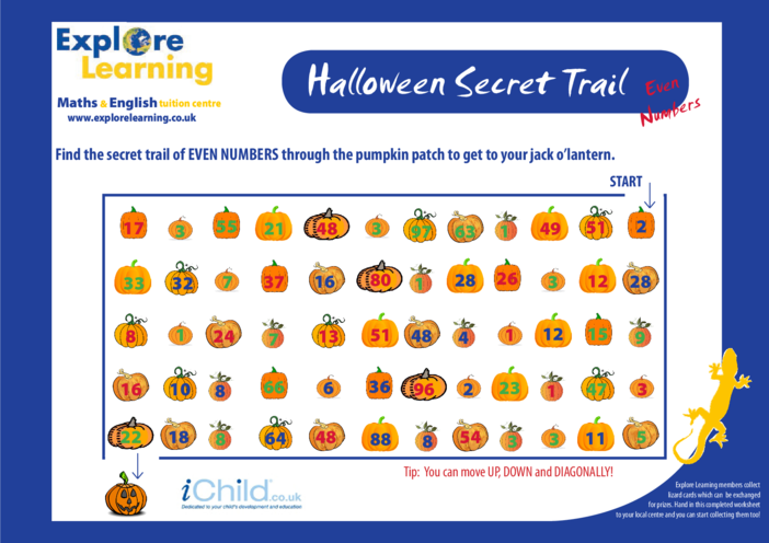 Thumbnail image for the Halloween Maths- Even Numbers activity.
