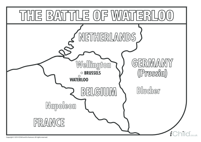 Thumbnail image for the Battle of Waterloo Map Colouring in Picture activity.