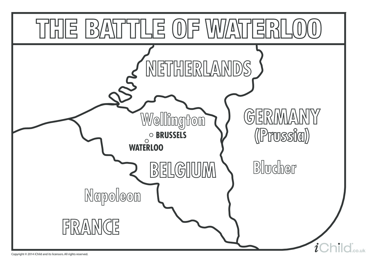 Battle of Waterloo Map Colouring in Picture