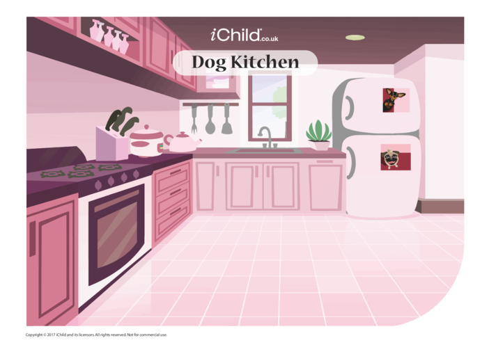 Thumbnail image for the Dog Kitchen Sticker Scene activity.