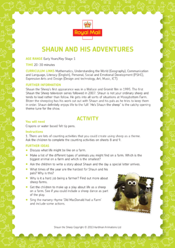 Thumbnail image for the Shaun the Sheep: Shaun & his Adventures (EYFS/KS1) activity.